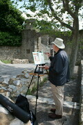 Len working away in Lagrasse, Southern France in 2009