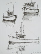 Maine Lobster Boat Sketches 1